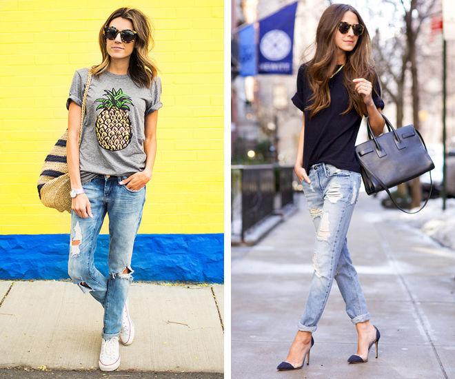 Рваные джинсы и футболка с принтом